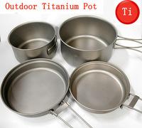 2-3 people titanium cookware set titanium camping pot outdoors frying pan Ti plate portable cookware outdoor cooking utensils
