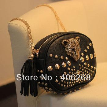 free shipping. 2013 women's shoulder bag.stylish chain bag.  punk leopard head buttons party bag.cool rivet evening bag