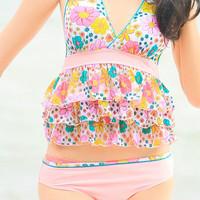 Split swimwear female cake laciness swimwear pink blue flower spa