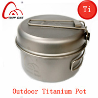 Double Titanium cookware titanium camping pot outdoor fry pan ti portable cookset cookware outdoor cooking utensils tableware