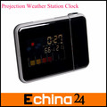 Hot LED Liquid Crystal Display Projection Desk Alarm Clock With Weather Station Free Shipping