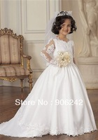 Hot Sale Long Sleeves Ivory Applique Newest Bridal Flower Girl Dress Buttoned Back LR-C083