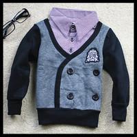 2013 child fleece sweatshirt baby boy children's clothing faux two piece outerwear 8 8 shirt collar sweatshirt (CC007)