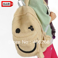 free shipping  2013 hot  corduroy cartoon smiley backpack student school bag