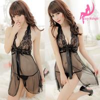 Women's sexy underwear transparent lace short skirt sexy sleepwear full dress temptation thong nightgown set e4003