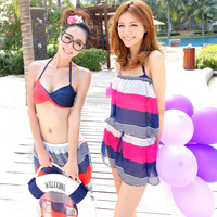2013 fashion swimwear three piece set push up female swimsuit beach wear swimming bathing suit women bikini tankini monokini