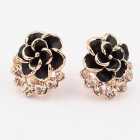 Min.order $10(mix) enamel rose earring fashion jewelry wholesale flower earrings for women 2013