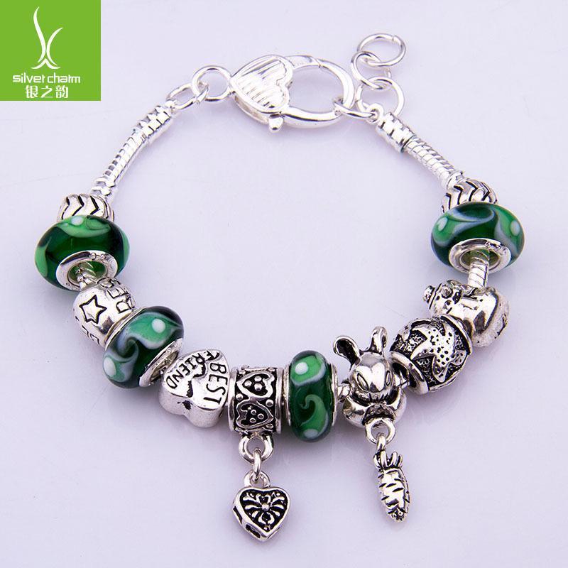 Charm bracelet women with green lampwork glass beads fashion jewelry