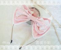 Classic handmade lolita lace bow hair accessory cute headband black and white