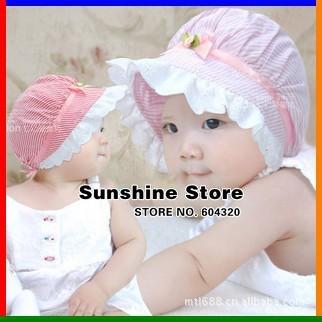 Sunshine store #2C2653 10pcs/lot(3 colors)baby hat infant Bucket hat visor bonnet striped flower bow girls princess beanies CPAM