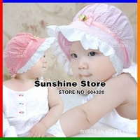 Sunshine store #2C2653 10pcs/lot(3 colors)baby hat infant Bucket hat visor bonnet striped flower bow girls princess beanies CPAM