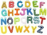 Free Shipping 26 alphabet Wooden Colorful Cartoon Fridge Magnets/Refrigerator sticker/cute Magnetic sticker