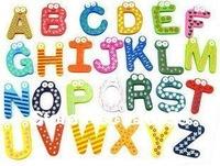 Free Shipping 26 alphabet Wooden Colorful Cartoon Fridge Magnets/Refrigerator sticker/cute Magnetic sticker