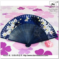 Hanfu costume classical accessories flower folding fan 010 blue