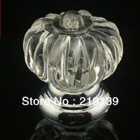 10x30mm Pumpkin Crystal Glass Door Knob Drawer Cabinet Pull Handle Cupboard Wardrobe