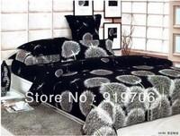 2013 New Beautiful 100% Cotton 4pc Doona Duvet QUILT Cover Set bedding sets Full Queen King 4pcs size black white flower nice