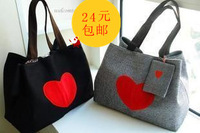 free shipping Red bag love canvas women's handbag canvas bag travel bag shoulder bag handbag