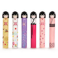 Free Shipping+factory price Wholesale Cut Kokeshi Doll Umbrella,Fruit Doll Umbrella,Cartoon Folding Umbrella