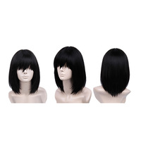 Touhou Project Shameimaru Aya Medium Length Black Cosplay Wig Short Long Bob Synthetic Wig Discount Synthetic Wig