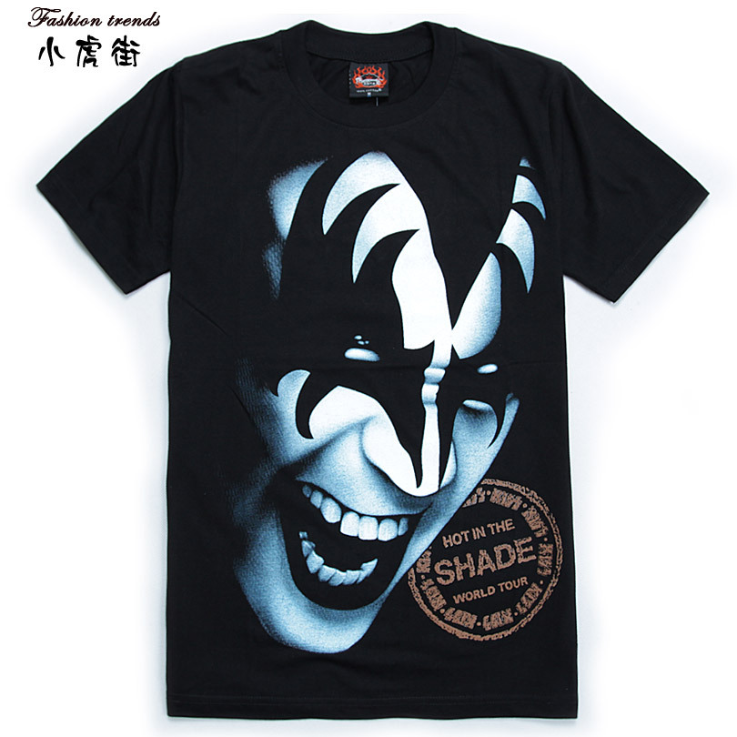 Hiphop t-shirt male short-sleeve t shirt loose rock t-shirt kiss band hip-hop plus size 100% cotton short-sleeve(China (Mainland))