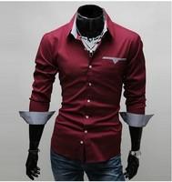 Free Shipping 2012 New Design Fashion Mens Shirts Casual Slim Fit Stylish Dress Shirts 3 colors Size:M~3XL 5907