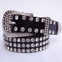 Decoration crystal women's belt Women rhinestone wide belt diamond black genuine leather cowhide belt strap