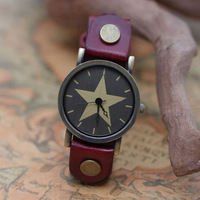 2014 Hot Sell Vintage Five-pointed Star Cow Leather Watch High Quality PU Leather Clock Hours Free shipping