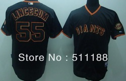 San Francisco Giants #55 Tim LINCECUM Black Color Coolbase Baseball Jerseys.Size M-3XL(China (Mainland))