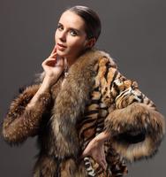 Fur rabbit fur leopard print design short outerwear raccoon fur women's 2014 slim P