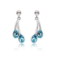 New Arrived  Spring Trendy Blue Crystal  Drop Earrings For women Fashion Jewelry Wedding with  Gifts Box