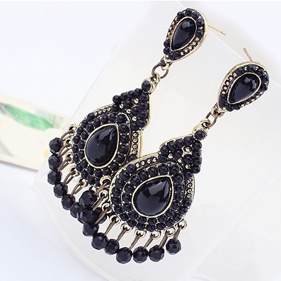 Free Shipping Black White Vintage Elegant Royal Unique Drop Earring for Women Fashion Jewelry (Min Order $20 Can Mix)(China (Mainland))