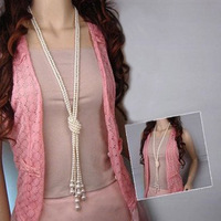 1pcs/lot,women's Knotted pearl necklace, retro long necklaces fashion sweater chain jewelry for women Free shipping