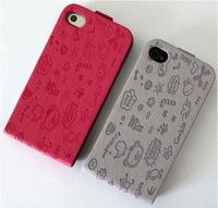 Free shipping! Lovely Cartoon Leather Fold Flip Protective Case Cover For iPhone 4 4G 4S