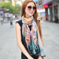 Quality digital water soluble wool scarf autumn and winter thermal cashmere scarf female cape