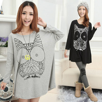 Free shipping 2013 spring maternity clothing maternity long-sleeve t-shirt large o-neck dress maternity top t328