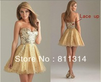 New stock Sequins Gold Tulle short Ball Evening Dresses 6-16