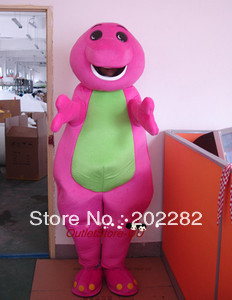 Pink Barney Dragon Boy Mascot Costume Adult for Festival Party Fancy Dress(China (Mainland))