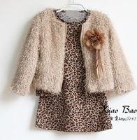 baby 2pcs set girl outfits autumn/spring  children fur coat+ long sleeve leopard dress, 5sets/lot, KA-2