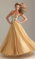New stock Sequins Gold Tulle Bridesmaid/Prom/Party/Ball Evening Dresses 6-16