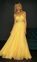 new style yellow evening Prom Classmate party dress stock size : 6-16