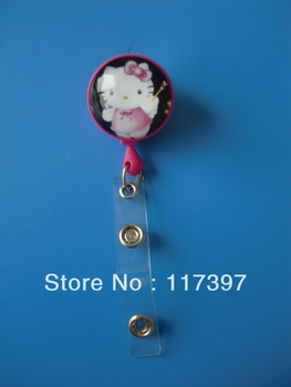 Free Shipping wholesale10 PCS/LOT Hello kitty Crystal Retractable Cute Lovely Fashionable of ID/IC Card Badge Reel Holder