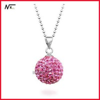 Free shipping new design shamballa necklace with 925 silver 1205057