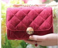 free shipping 2013 hot sale women's plaid designer mini bag suede day clutch wallet  puse for lady chain shoulder bags