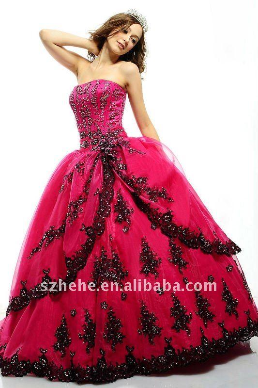VESTIDOS DE 15 AÑOS FUCSIA CON NEGRO Caliente de color rosa vestido