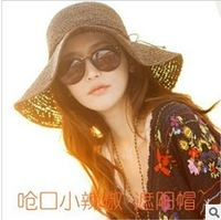 free shipping wholesale foldable gulf coast headwear ladies wide brim straw beach hat