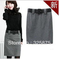 Free shipping 2013 winter clothes new woolen skirt  career women ol skirt office for ladies formal offce(without belt)