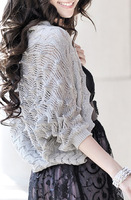 2014 Autumn clothes for mother and daughter all-match plus size wave cutout solid color cape short-sleeve cardigan outerwear