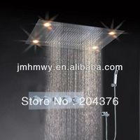 polish stainless steel waterfall rain hydro power led shower head