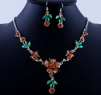 20134 Fashion  Retail Hot Sale Party High Quality Alloy Earring And Alloy Necklace Sets Brown Color W19711F01