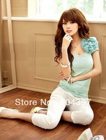 New Style Cotton Blouse Top T-shirt ,Stylish short-sleeved T-shirt,white, pink, green or brown , Free Shipping